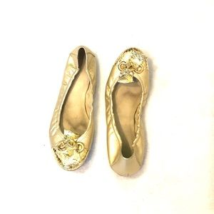 [Stuart Weitzman] Gold Leather Ballet Flats - 9
